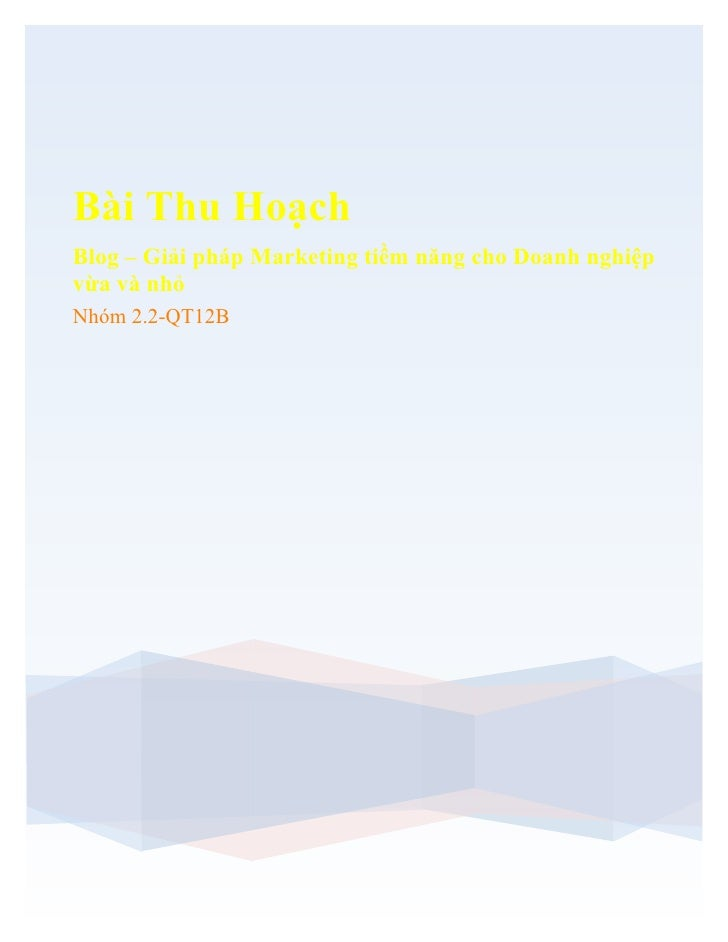Bài Thu Hoạch Blog – Giải pháp Marketing tiềm năng cho Doanh nghiệp vừa và nhỏ Nhóm 2.2-QT12B