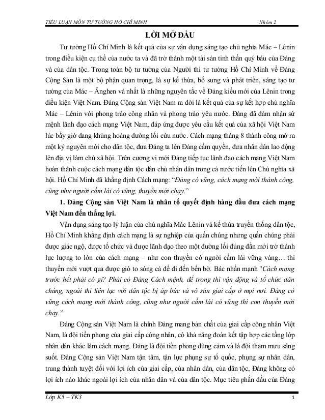 TIỂU LUẬN MÔN TƯ TƯỞNG HỒ CHÍ MINH Nhóm 2 LỜI MỞ ĐẦU Tư tưởng Hồ Chí Minh là kết quả của sự vận dụng sáng tạo chủ nghĩa Má...