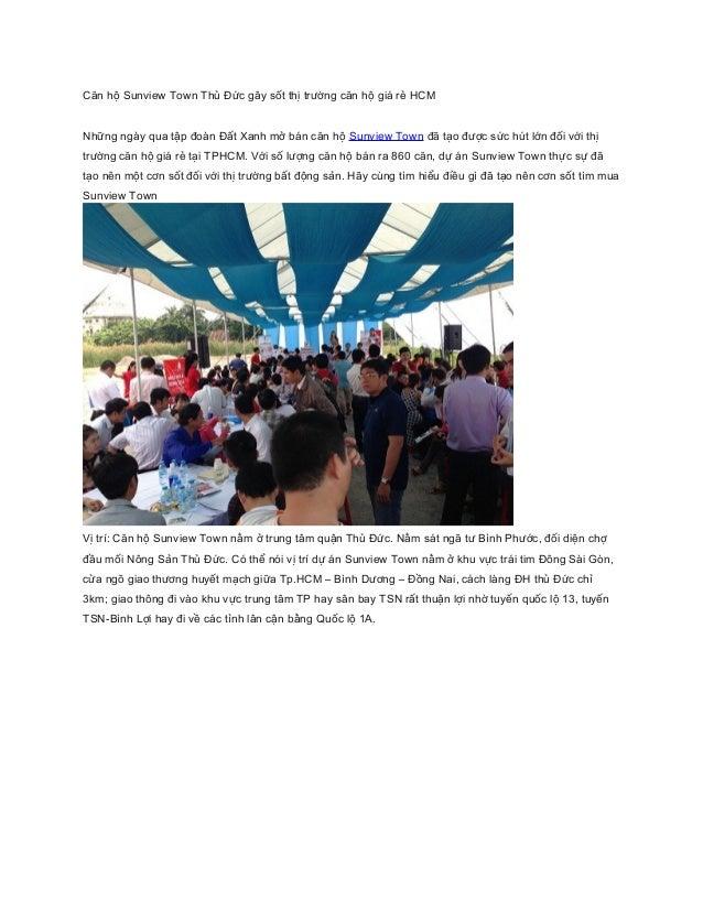 Căn hộ Sunview Town Thủ Đức gây sốt thị trường căn hộ giá rẻ HCM  Những ngày qua tập đoàn Đất Xanh mở bán căn hộ Sunview T...