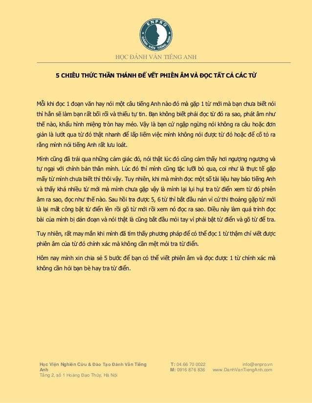 HỌC ĐÁNH VẦN TIẾNG ANH Học Viện Nghiên Cứu & Đào Tạo Đánh Vần Tiếng Anh Tầng 2, số 1 Hoàng Đạo Thúy, Hà Nội T: 04.66 70 00...