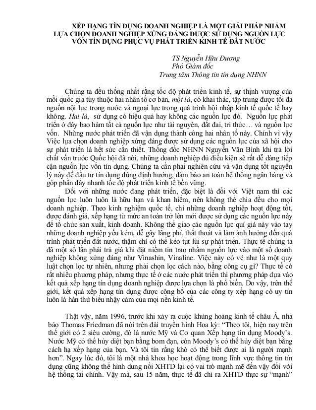 XẾP HẠNG TÍN DỤNG DOANH NGHIỆP LÀ MỘT GIẢI PHÁP NHẰM LỰA CHỌN DOANH NGHIỆP XỨNG ĐÁNG ĐƯỢC SỬ DỤNG NGUỒN LỰC VỐN TÍN DỤNG P...