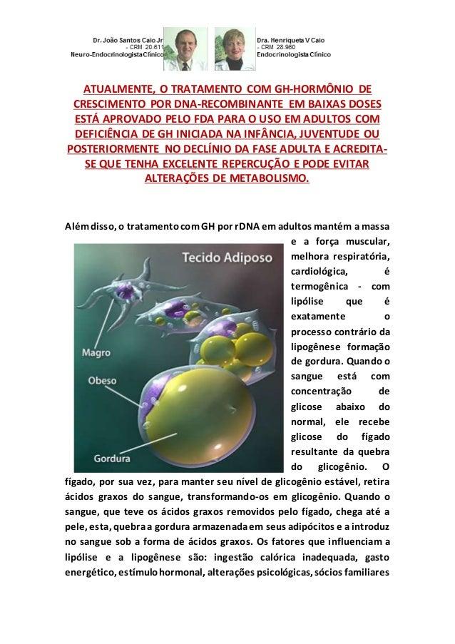 ATUALMENTE, O TRATAMENTO COM GH-HORMÔNIO DE CRESCIMENTO POR DNA-RECOMBINANTE EM BAIXAS DOSES ESTÁ APROVADO PELO FDA PARA O...