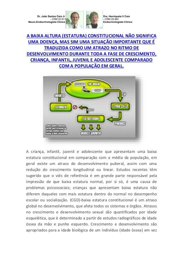 A BAIXA ALTURA (ESTATURA) CONSTITUCIONAL NÃO SIGNIFICA UMA DOENÇA, MAS SIM UMA SITUAÇÃO IMPORTANTE QUE É TRADUZIDA COMO UM...