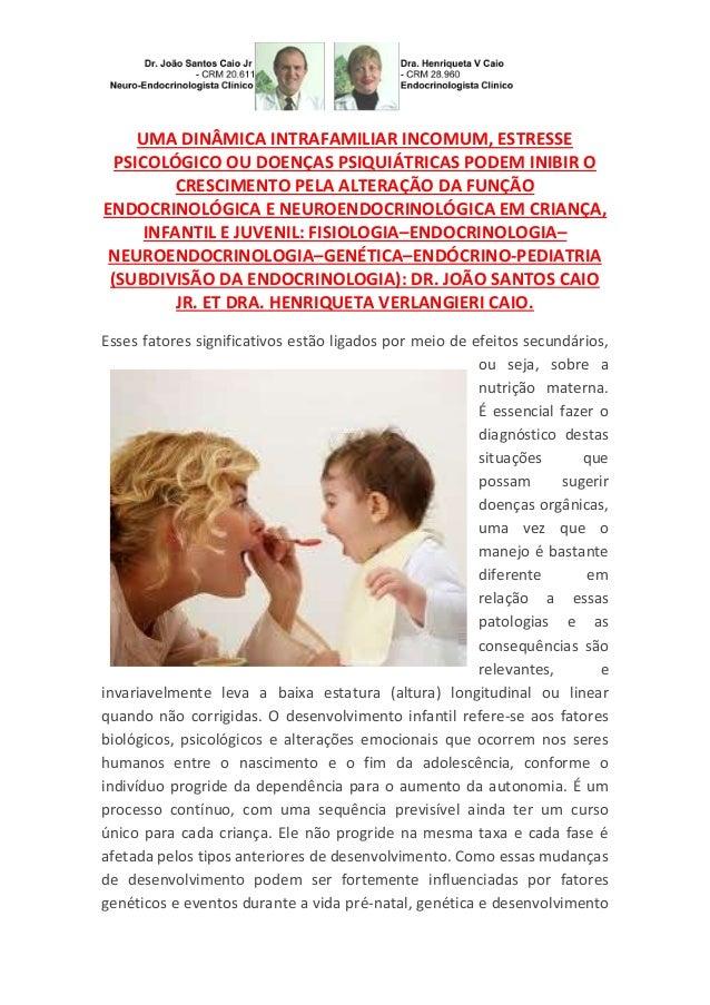 UMA DINÂMICA INTRAFAMILIAR INCOMUM, ESTRESSE PSICOLÓGICO OU DOENÇAS PSIQUIÁTRICAS PODEM INIBIR O CRESCIMENTO PELA ALTERAÇÃ...