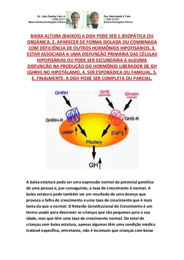BAIXA ALTURA (BAIXOS) A DGH PODE SER 1.IDIOPÁTICA OU ORGÂNICA, 2. APARECER DE FORMA ISOLADA OU COMBINADA COM DEFICIÊNCIA D...