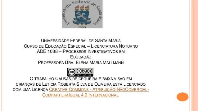 UNIVERSIDADE FEDERAL DE SANTA MARIA CURSO DE EDUCAÇÃO ESPECIAL – LICENCIATURA NOTURNO ADE 1038 – PROCESSOS INVESTIGATIVOS ...