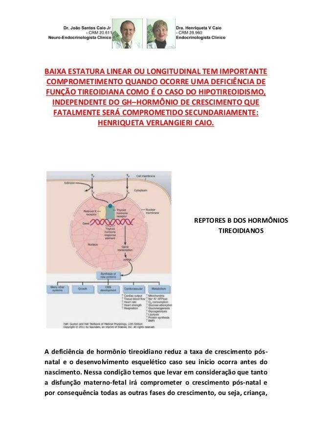 BAIXA ESTATURA LINEAR OU LONGITUDINAL TEM IMPORTANTE COMPROMETIMENTO QUANDO OCORRE UMA DEFICIÊNCIA DE FUNÇÃO TIREOIDIANA C...