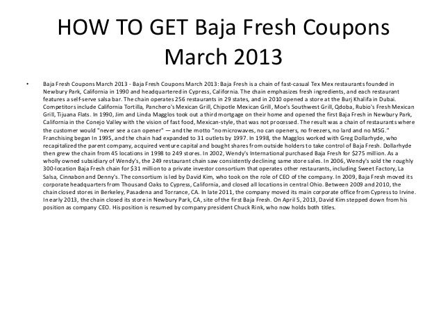 photograph regarding Baja Fresh Coupons Printable named Baja Refreshing Discount codes March 2013 - Printable Baja Clean Coupon codes