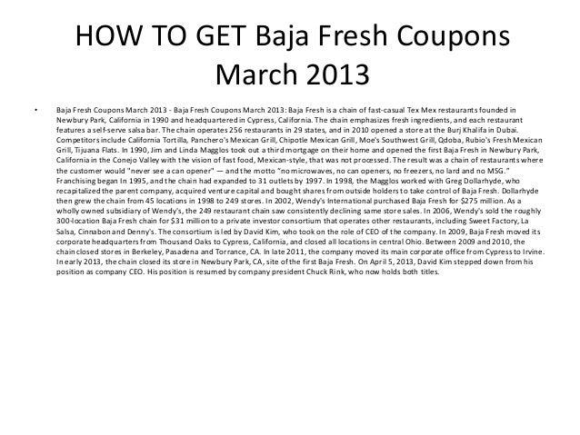 photograph regarding Baja Fresh Coupons Printable named Baja Refreshing Discount codes March 2013 - Printable Baja Clean Coupon codes