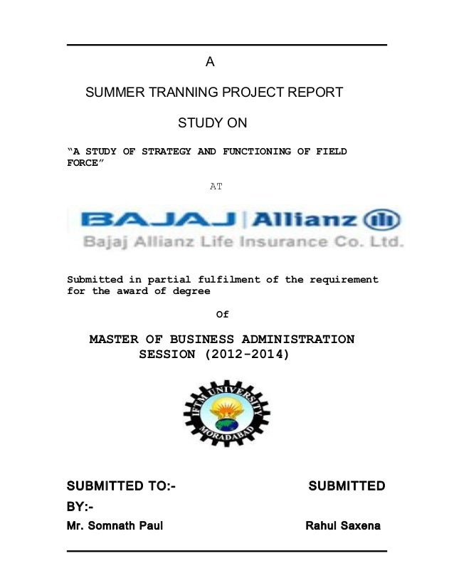 summer training project report on bajaj Heyy frends dis project may help u all in ur project advertisements  summer  internship project on bajaj allianz - january 23rd, 2010  need project report on  bajaj allianz life insurance, renu yadav, innovations in banking and insurance.