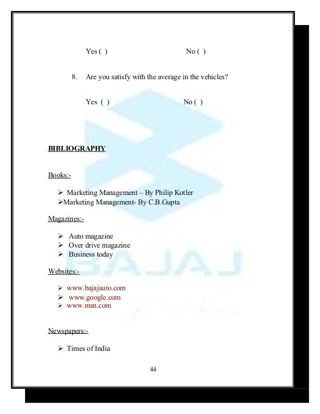 mba marketing major project on bajaj auto ltd