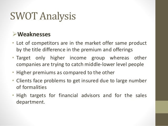swot analysis of bajaj allianz life insurance Bajaj allianz life insurance company limited is a joint venture between bajaj finserv limited and allianz for study and analysis to dig deeper into the customers.
