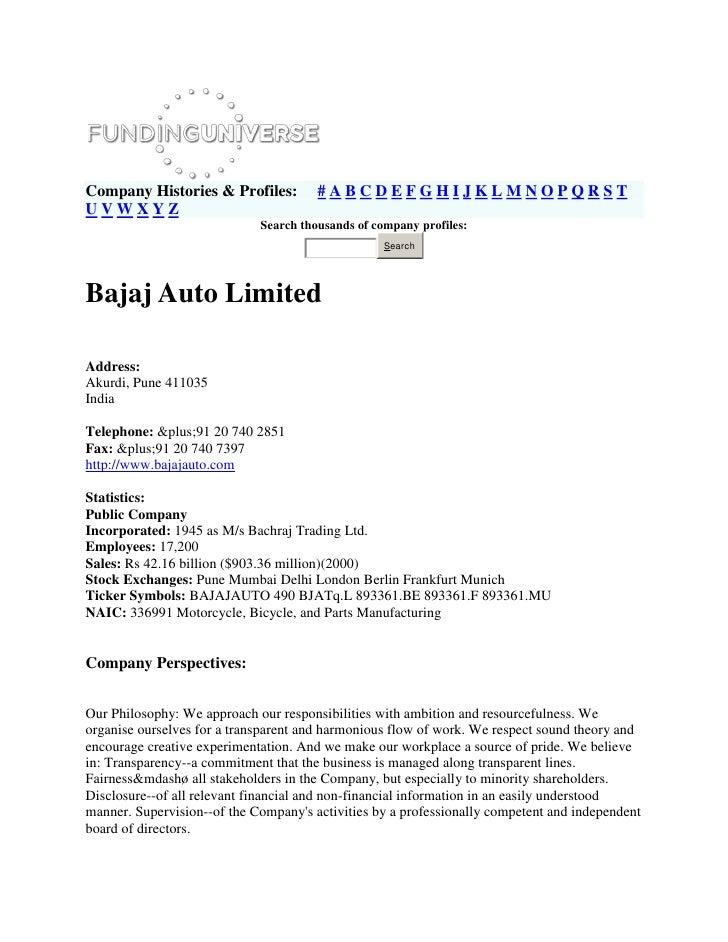 Bajaj Company Histories