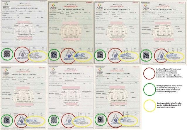 Certificados falsos de hijos de Evo