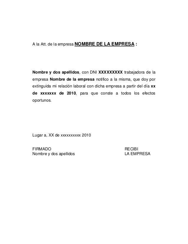 A la Att. de la empresa NOMBRE DE LA EMPRESA :Nombre y dos apellidos, con DNI XXXXXXXXX trabajadora de laempresa Nombre de...