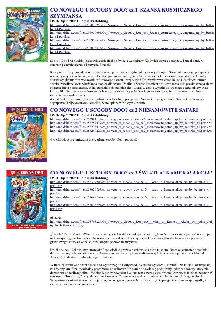 CO NOWEGO U SCOOBY DOO? cz.1 SZANSA KOSMICZNEGO SZYMPANSA DVD-Rip * 700MB * polski dubbing http://rapidshare.com/files/235...