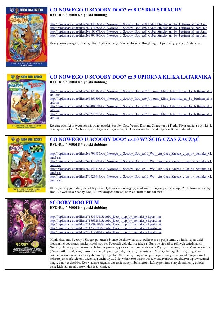 CO NOWEGO U SCOOBY DOO? cz.8 CYBER STRACHY DVD-Rip * 700MB * polski dubbing  http://rapidshare.com/files/269042668/Co_Nowe...