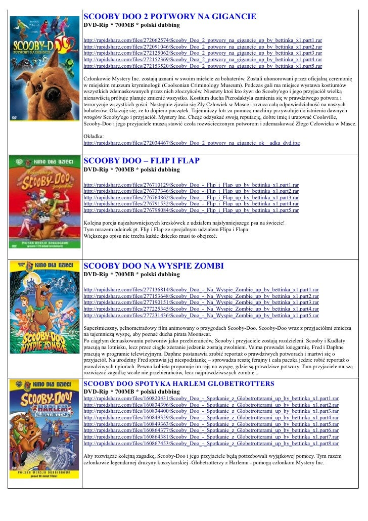 SCOOBY DOO 2 POTWORY NA GIGANCIE DVD-Rip * 700MB * polski dubbing  http://rapidshare.com/files/272062574/Scooby_Doo_2_potw...