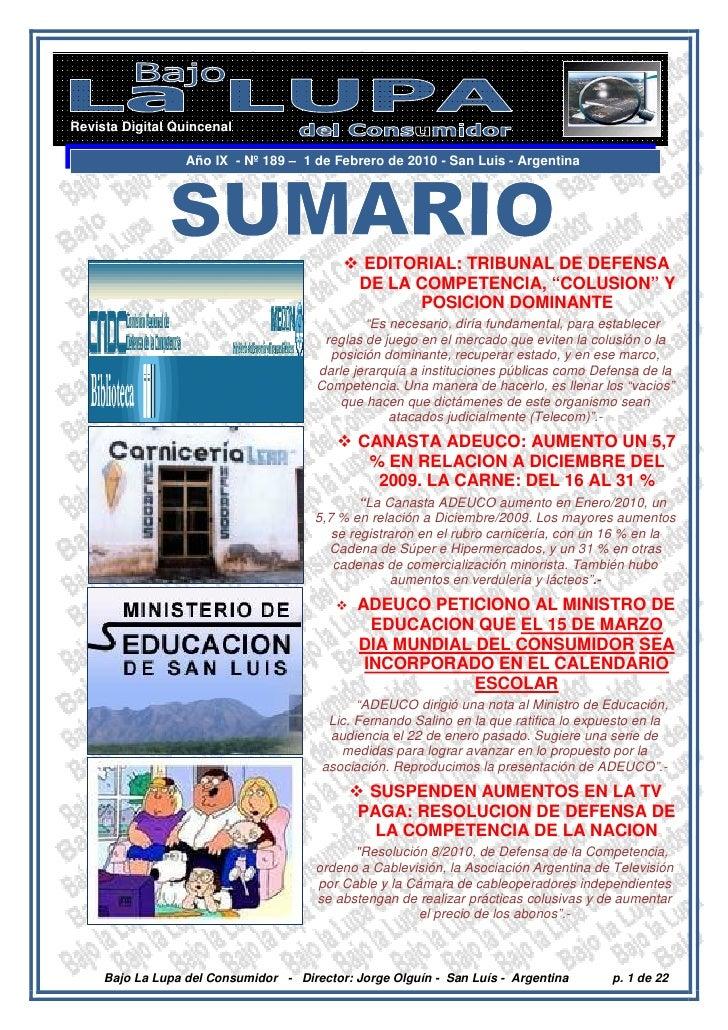 Revista Digital Quincenal                    Año IX - Nº 189 – 1 de Febrero de 2010 - San Luis - Argentina                ...