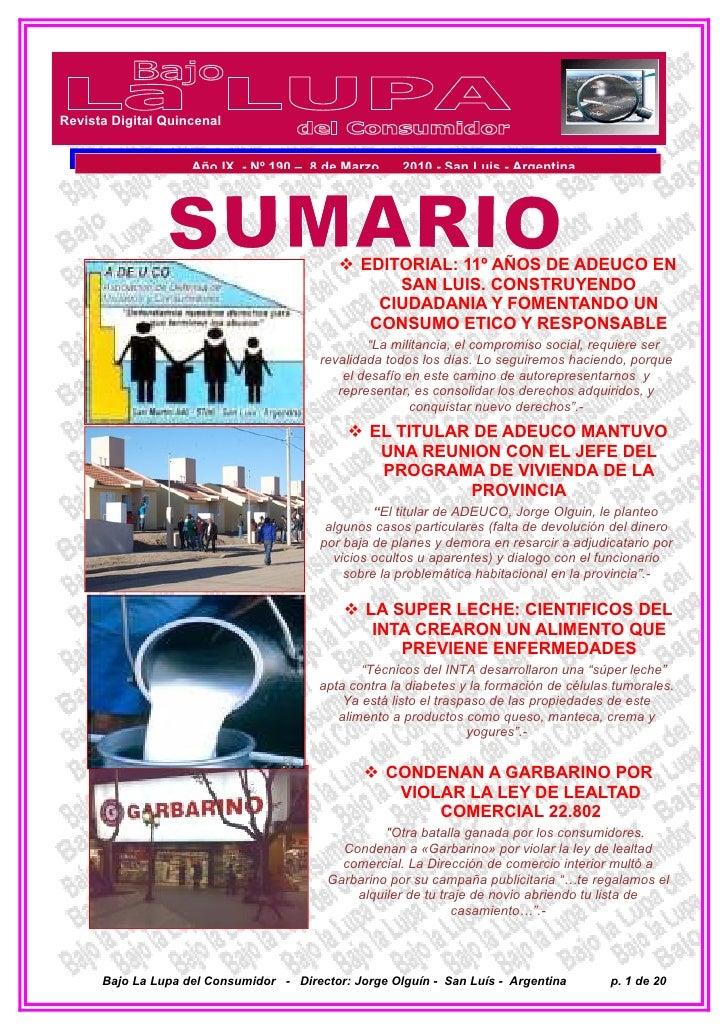 Revista Digital Quincenal                       Año IX - Nº 190 – 8 de Marzo de 2010 - San Luis - Argentina               ...