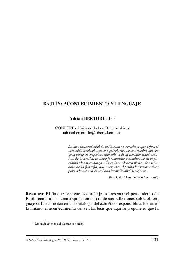 BAJTÍN: ACONTECIMIENTO Y LENGUAJE                                  Adrián BERTORELLO                       CONICET - Unive...