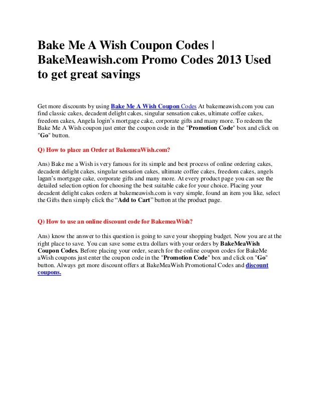 BakeMeAWish Coupons Bake Me A Wish Coupon Codes bakemeawishcom P