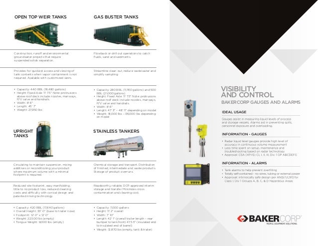 New Bakercorp Tank Line Card