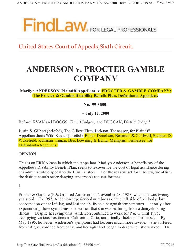 ANDERSON v. PROCTER GAMBLE COMPANY, No. 99-5800., July 12, 2000 - US 6t... Page 1 of 9 8QLWHG 6WDWHV &RXUW RI $SSHDOV6L[WK...