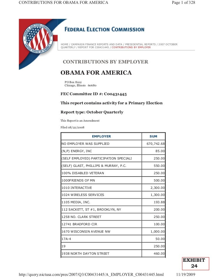 CONTRIBUTIONS FOR OBAMA FOR AMERICA                                                            Page 1 of 328              ...