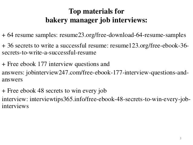 Bakery manager resume sample pdf ebook free download