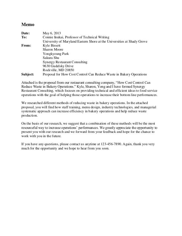 Memo Date: To: From:  Subject:  May 6, 2013 Connie Inukai, Professor of Technical Writing University of Maryland Eastern S...