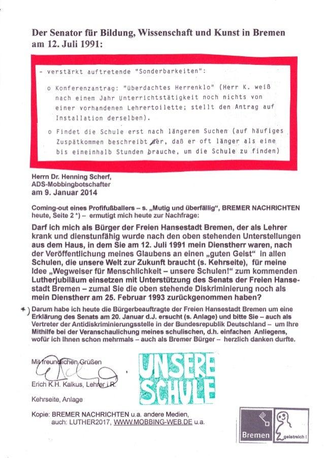 """Der Senator für Bildung, Wissenschaft und Kunst in Bremen am 12. Juli l99l:  - verstärkt auftretende  """"sonderbarkeiten"""":  ..."""