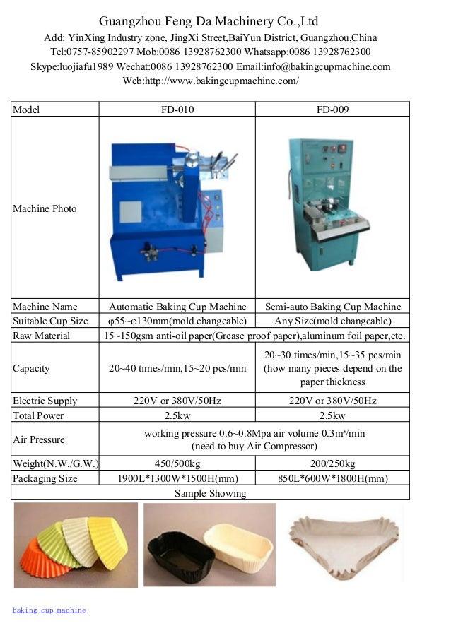 Guangzhou Feng Da Machinery Co.,Ltd Add: YinXing Industry zone, JingXi Street,BaiYun District, Guangzhou,China Tel:0757-85...