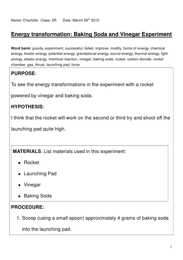 baking soda and vinegar rocket essay In this instructable i will show the readers what happens with the vinegar and baking soda reaction and what i am trying to get is what amount and form is best for.