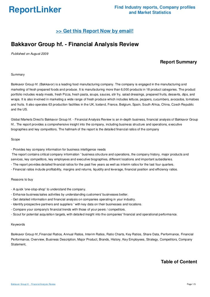 Bakkavor Group hf. - Financial Analysis Review