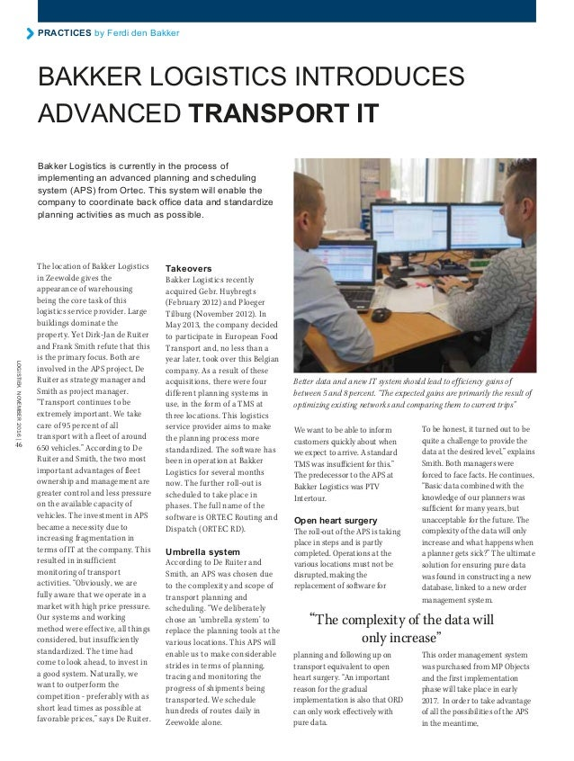 Bakker Logistics introduces advanced Transport IT