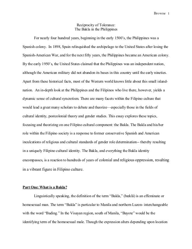 Bakla Essay Browne  Reciprocity Of Tolerance The Bakla In The Philippines For Nearly  Four Hundred Years  Sample Thesis Essay also Persuasive Essay Sample High School  Thesis For A Narrative Essay