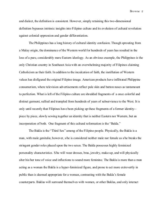 Bakla Essay Though The Expression Alters Depending Upon Location  College Vs High School Essay also Informative Synthesis Essay  Examples Of A Thesis Statement For A Narrative Essay