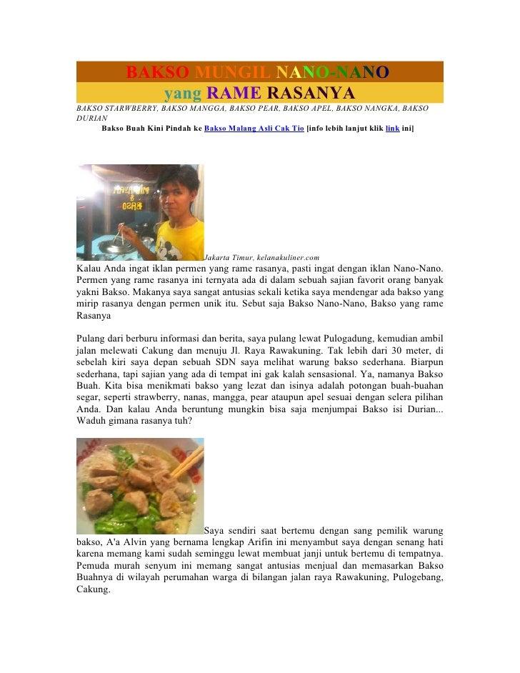 BAKSO MUNGIL NANO-NANO                yang RAME RASANYA BAKSO STARWBERRY, BAKSO MANGGA, BAKSO PEAR, BAKSO APEL, BAKSO NANG...