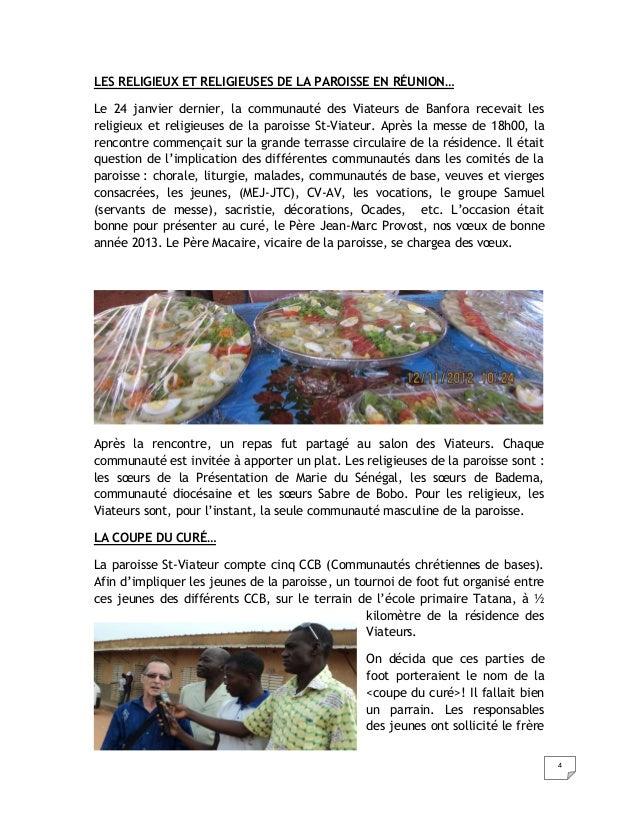LES RELIGIEUX ET RELIGIEUSES DE LA PAROISSE EN RÉUNION…Le 24 janvier dernier, la communauté des Viateurs de Banfora receva...