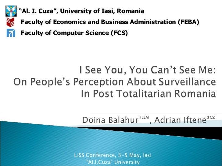 """Doina Balahur (FEBA) ,  Adrian Iftene (FCS) LiSS Conference ,  3 - 5  Ma y ,  Iasi """" Al.I.Cuza"""" University """" Al. I. Cuza"""",..."""