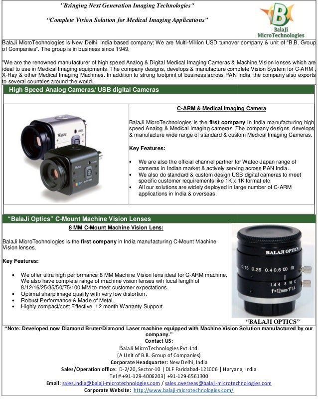 """""""Bringing Next Generation Imaging Technologies"""" """"Complete Vision Solution for BalaJi MicroTechnologies is New Delhi, India..."""