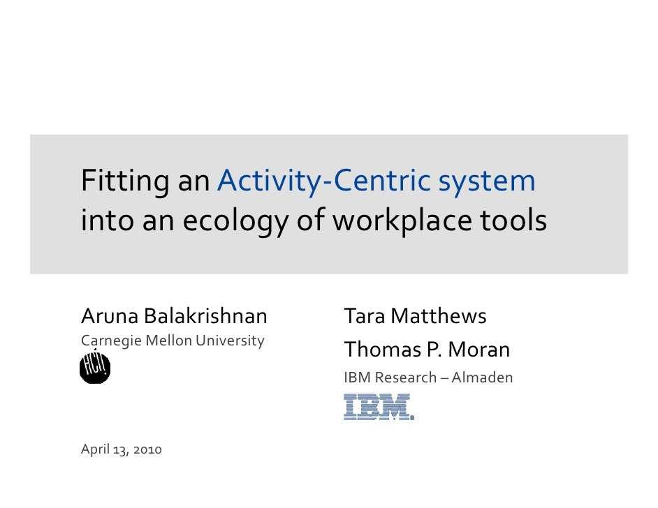 Fitting an Activity-Centric system into an ecology of workplace tools<br />ArunaBalakrishnan<br />Carnegie Mellon Universi...