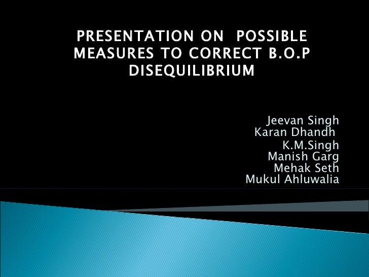 Jeevan Singh Karan Dhandh  K.M.Singh Manish Garg Mehak Seth Mukul Ahluwalia PRESENTATION ON  POSSIBLE MEASURES TO CORRECT ...
