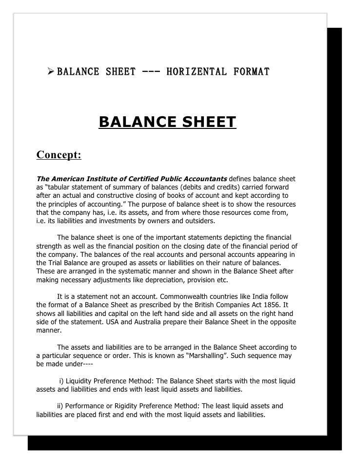Balance Sheet – Prepare a Balance Sheet