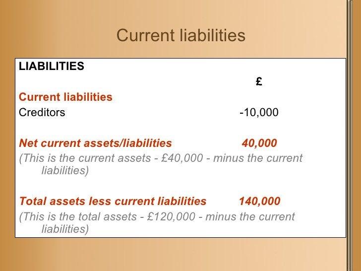 Current liabilities <ul><li>LIABILITIES </li></ul><ul><li>£ </li></ul><ul><li>Current liabilities </li></ul><ul><li>Credit...