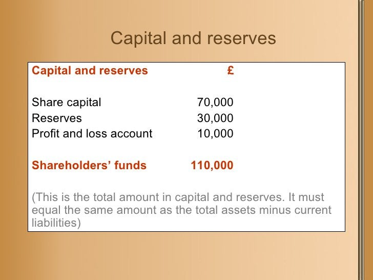 Capital and reserves <ul><li>Capital and reserves  £ </li></ul><ul><li>Share capital 70,000 </li></ul><ul><li>Reserves 30,...