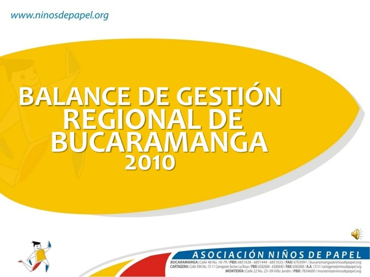 BALANCE DE GESTIÓN   REGIONAL DE  BUCARAMANGA       2010