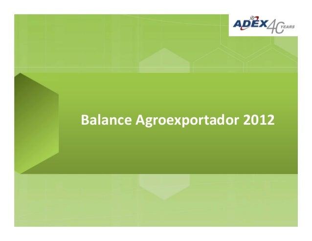 Balance Agroexportador 2012