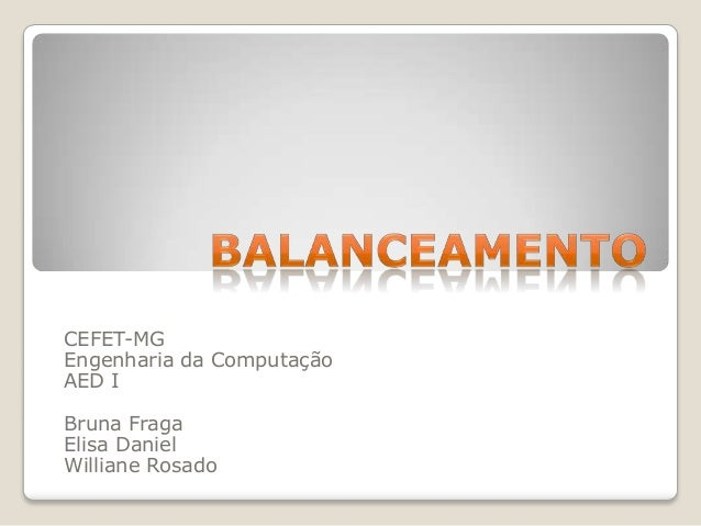 CEFET-MGEngenharia da ComputaçãoAED IBruna FragaElisa DanielWilliane Rosado
